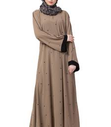 A-Line Abaya With Black Border Sleeves- Beige Color