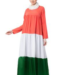 Tricolor Crepe Four Gathered Layer Abaya