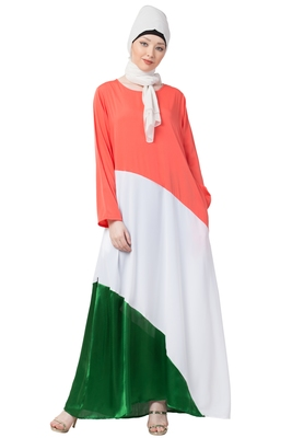 Tricolor Asymmetrical Crepe Abaya