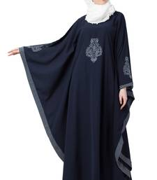Casual Embroidered Kaftan- Navy Blue