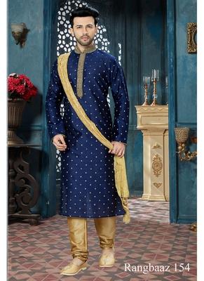 blue embroidered chanderi kurta pajama