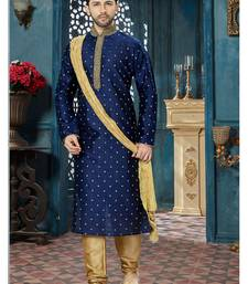 blue embroidered chanderi kurta pajama