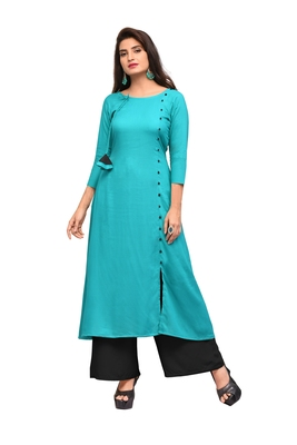 Sky-blue printed rayon long-kurtis