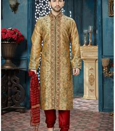 beige embroidered art silk kurta pajama