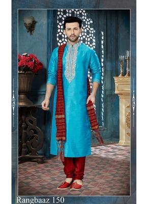 turquoise embroidered art silk kurta pajama