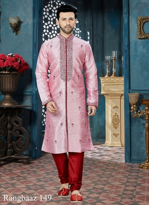 Pink embroidered art silk kurta pajama