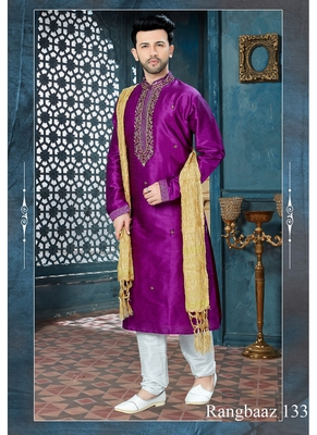 Purple embroidered art silk kurta pajama