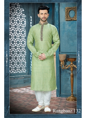 green embroidered art silk kurta pajama