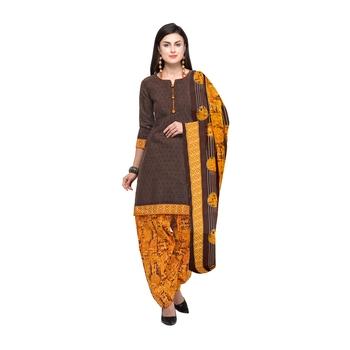 Brown Printed Cotton Unstitched Salwar With Dupatta