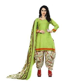 Light-Green Printed Cotton Unstitched Salwar With Dupatta