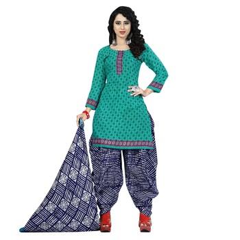 Dark-Green Printed Cotton Unstitched Salwar With Dupatta