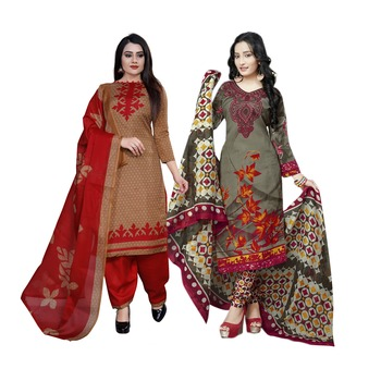 Light-Brown Printed Cotton Unstitched Salwar With Dupatta