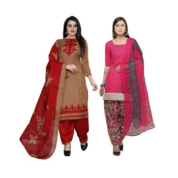 pink and light-brown printed cotton unstitched salwar with dupatta