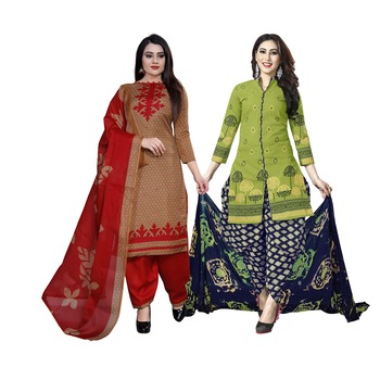 green and light-brown printed cotton unstitched salwar with dupatta