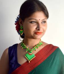 Green Glossy Colour Terracotta Necklace With Matching Earrings