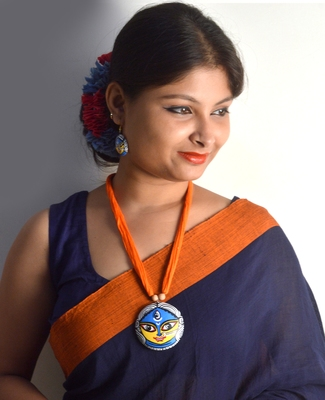 Orange Glossy Terracotta Necklace With Matching Earrings