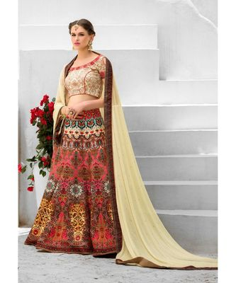 Heritage Silk Multicolor Digital Printed Designer Lehenga With Blouse