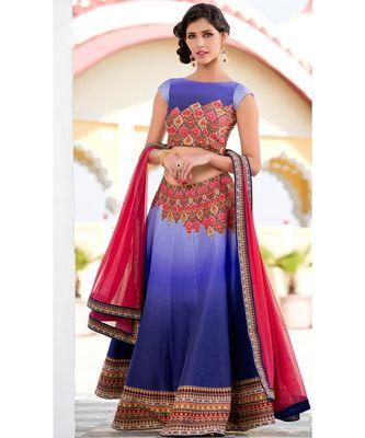 Heritage Silk blue Digital Printed Designer Lehenga With Blouse