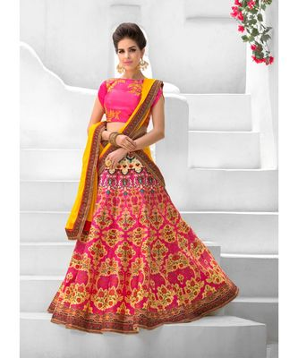 Heritage Silk Pink Digital Printed Designer Lehenga With Blouse