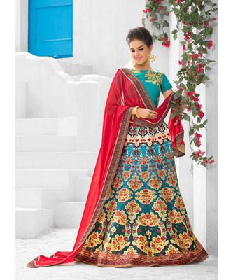 Heritage Silk Turquoise Digital Printed Designer Lehenga With Blouse