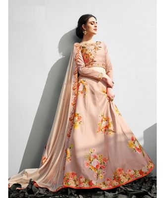 Heritage Silk Peach Digital Printed Designer Lehenga With Blouse