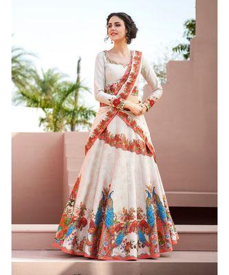Heritage Silk Pink Digital Printed Designer Lehenga With Blouse