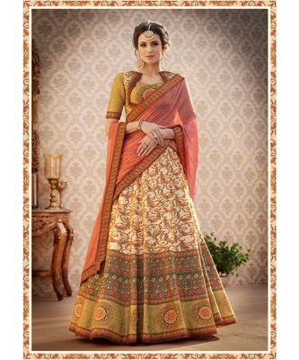 Pure Banarasi Natural Silk Multicolor Digital Printed Designer Lehenga With Blouse