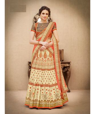 Pure Banarasi Natural Silk Beige Digital Printed Designer Lehenga With Blouse