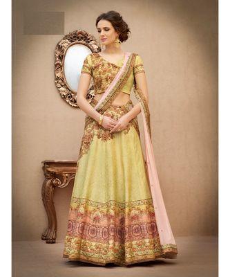 Pure Banarasi Natural Silk Golden Digital Printed Designer Lehenga With Blouse