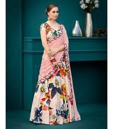 Pure Spandex Natural Silk Pink Digital Printed Designer Lehenga With Blouse