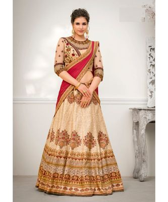 Pure Banarasi Natural Silk With Net Embroidery Heavy Work Peach Digital Printed Designer Lehenga With Blouse