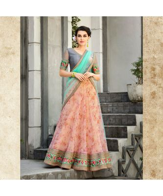 Organza Silk with Digital Print Heavy Embroidery Work Pink Designer Lehenga With Blouse