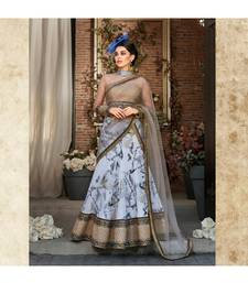 Organza Silk with Digital Print Heavy Embroidery Work blue Designer Lehenga With Blouse