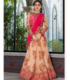 Pure Modal Silk with Digital Print Heavy Embroidery Work Peach Designer Lehenga With Blouse