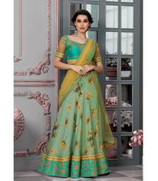 Pure Modal Silk with Digital Print Heavy Embroidery Work Green Designer Lehenga With Blouse