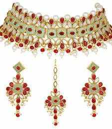 Gold Plated Kundan Pearl Meenakari Multi-Color Bridal Necklace Set With Earrings & Maang Tikka For Women