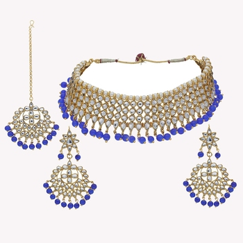 Traditional Kundan & Blue Pearl Choker Necklace Set For Women