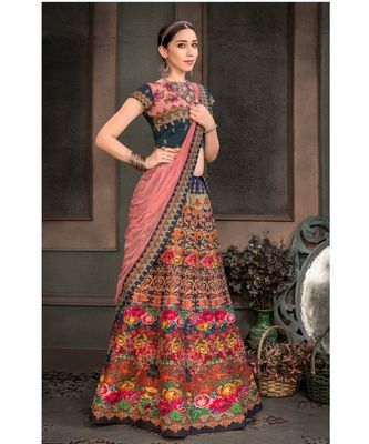 Pure Heritage Silk Multicolor Digital Printed Designer Lehenga With Blouse