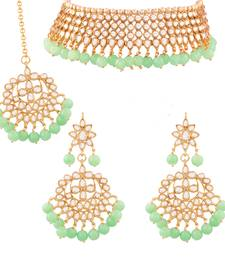 Traditional Kundan & Mint Pearl Choker Necklace Set For Women
