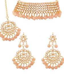 Traditional Kundan & Peach Pearl Choker Necklace Set For Women