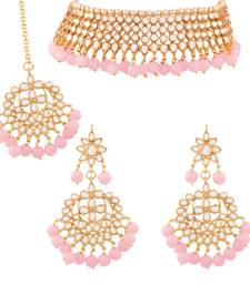 Traditional Kundan & Pink Pearl Choker Necklace Set For Women