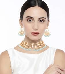 Traditional Kundan & Sky Blue Pearl Choker Necklace Set For Women