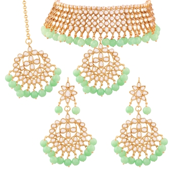 Traditional Kundan & Pearl Mint Choker Necklace Set For Women