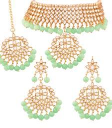 Traditional Kundan & Pearl Mint Choker Necklace Set For Women