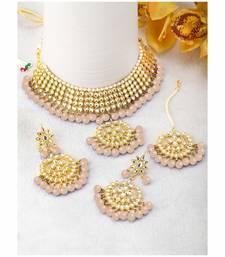 Traditional Kundan & Pearl Peach Choker Necklace Set For Women