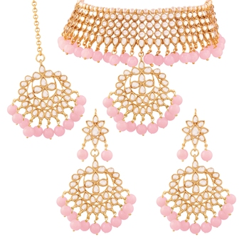 Traditional Kundan & Pearl Pink Choker Necklace Set For Women