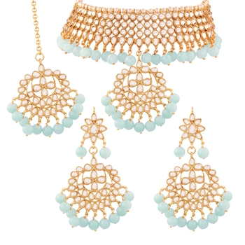 Traditional Kundan & Pearl Turquoise Choker Necklace Set For Women