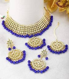 Traditional Kundan & Pearl Blue Choker Necklace Set For Women