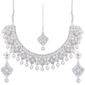 Traditional Oxidised Silver Plated Cz Stone Studded & Pearl Necklace Set With Earrings & Maang Tikka For Women