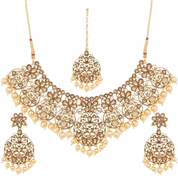 Traditional Gold Plated Stone Studded & Pearl Necklace Set with Earrings & Maang Tikka for Women